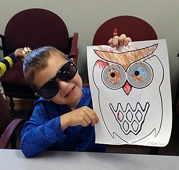 boy with sunglasses and owl art