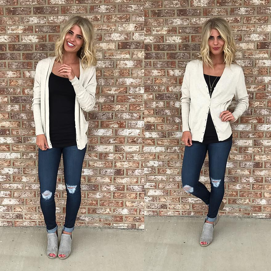 Beige Cardi with Buttons