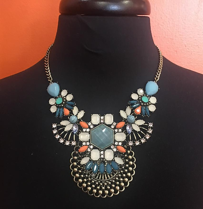 Blue & Peach Statement Necklace