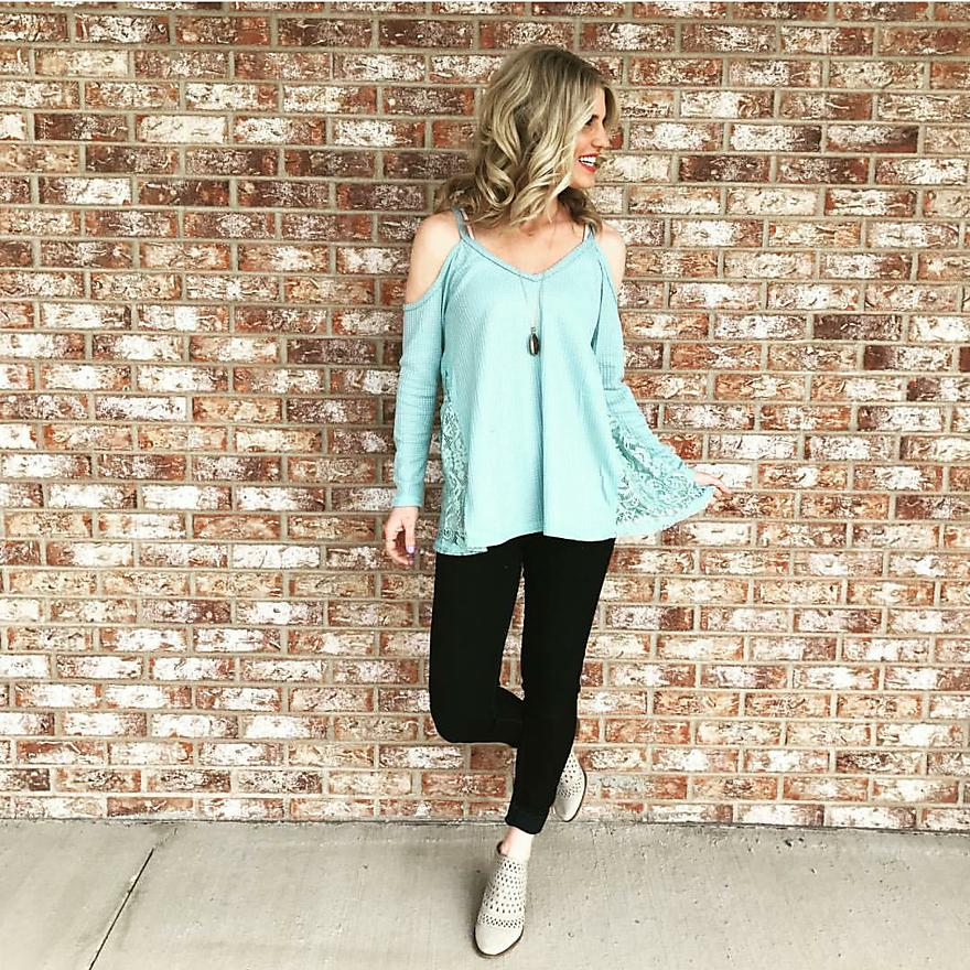 Baby Blue Cold-Shoulder Shirt