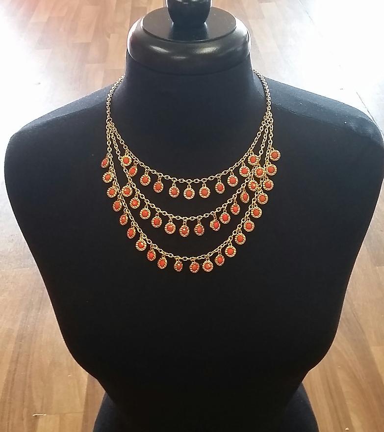 Orange Layered Gold Necklace