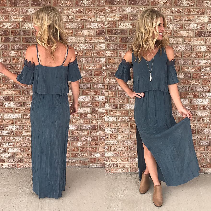 Steel blue hippy dress