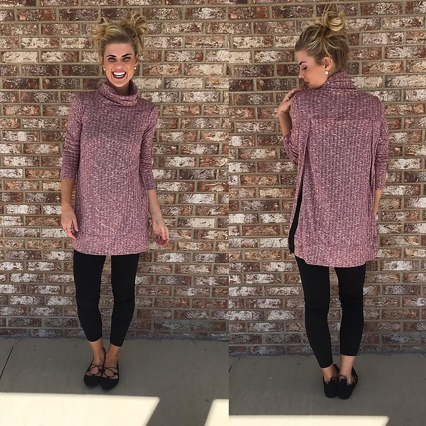 Heathered Long Sleeve Turtleneck