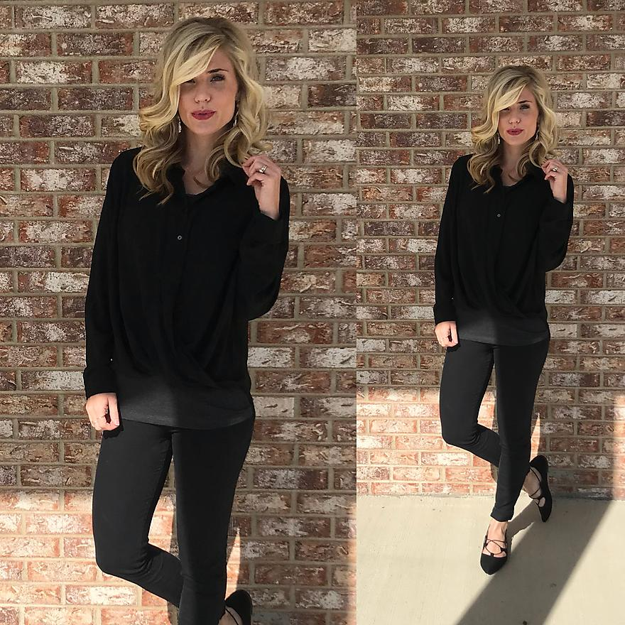 Draped Black Button Up