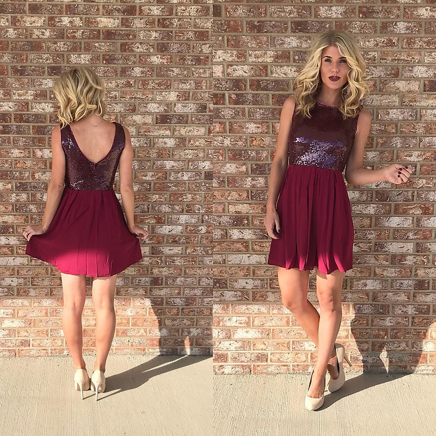 Burgundy Sequin Dress