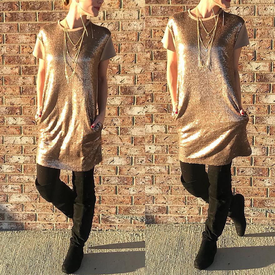 Gold Sequin T-Shirt Dress