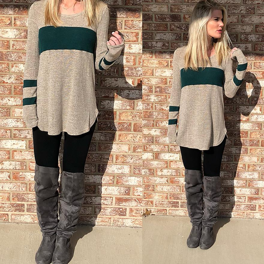 Beige Long-Sleeve with Green Stripes Top