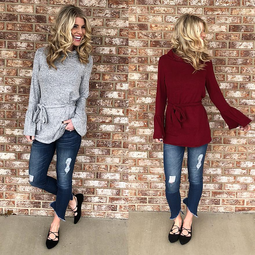 Bell Sleeve Belted Sweater