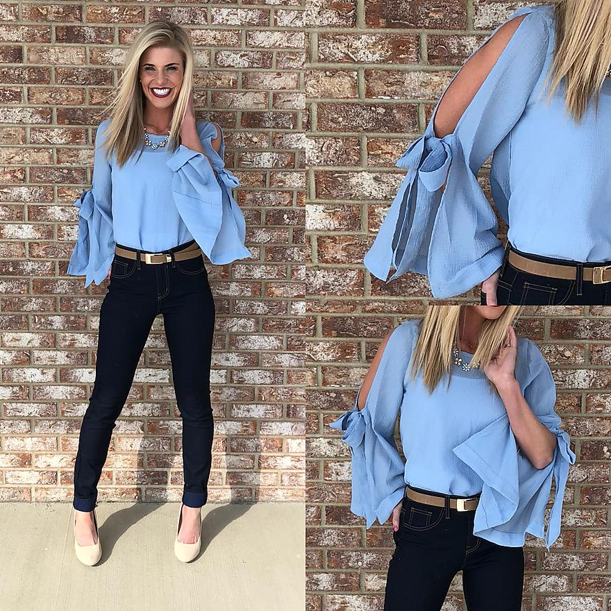 Bell Sleeve Top-Light Blue