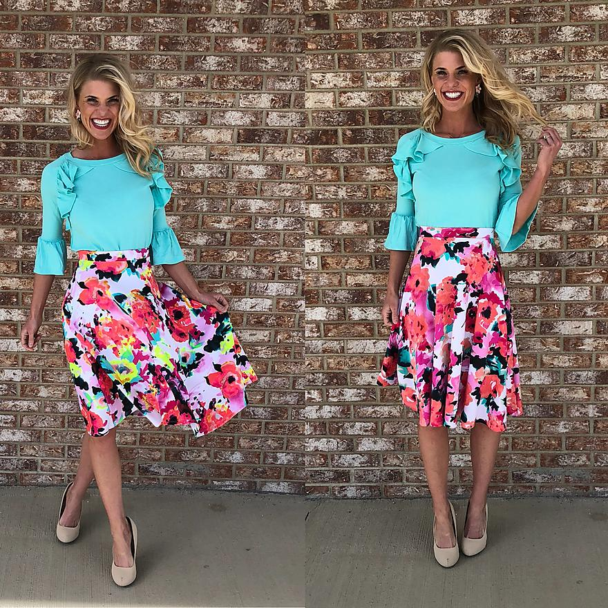 Bright A-line Floral Skirt