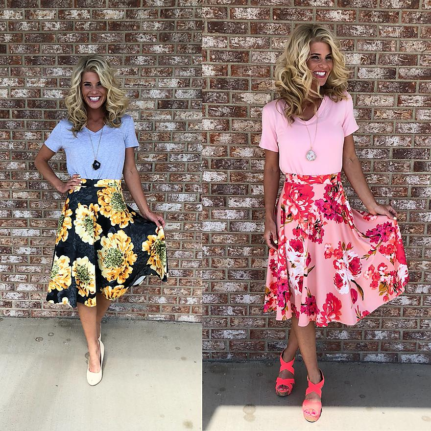 A-Line Large Print Floral Skirt