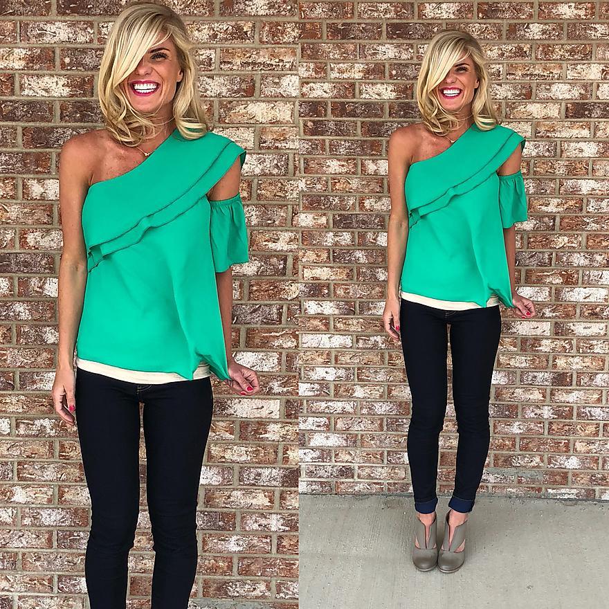 Emerald One Shoulder Blouse