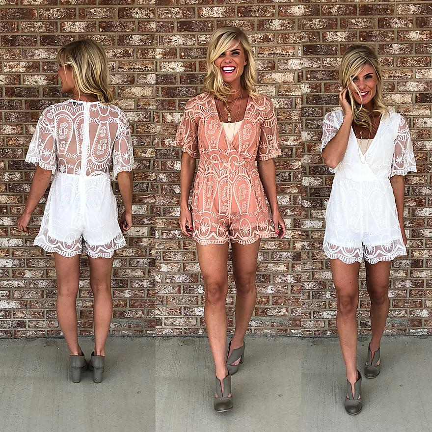 Paisley Peach and White Romper