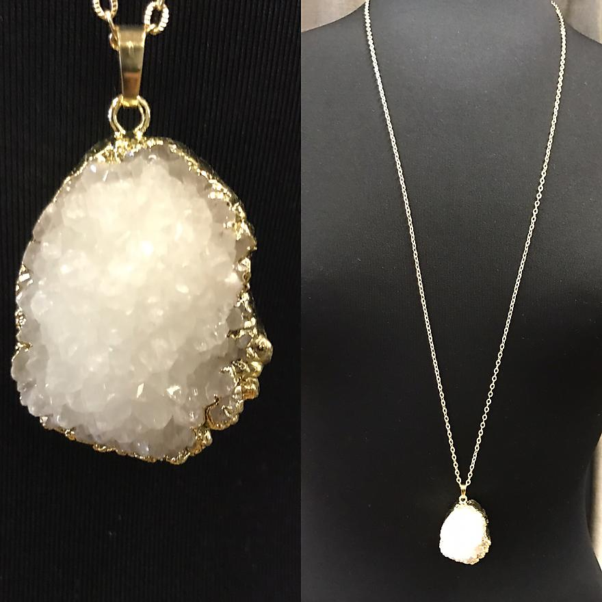 Crystalized Front Geode Necklace