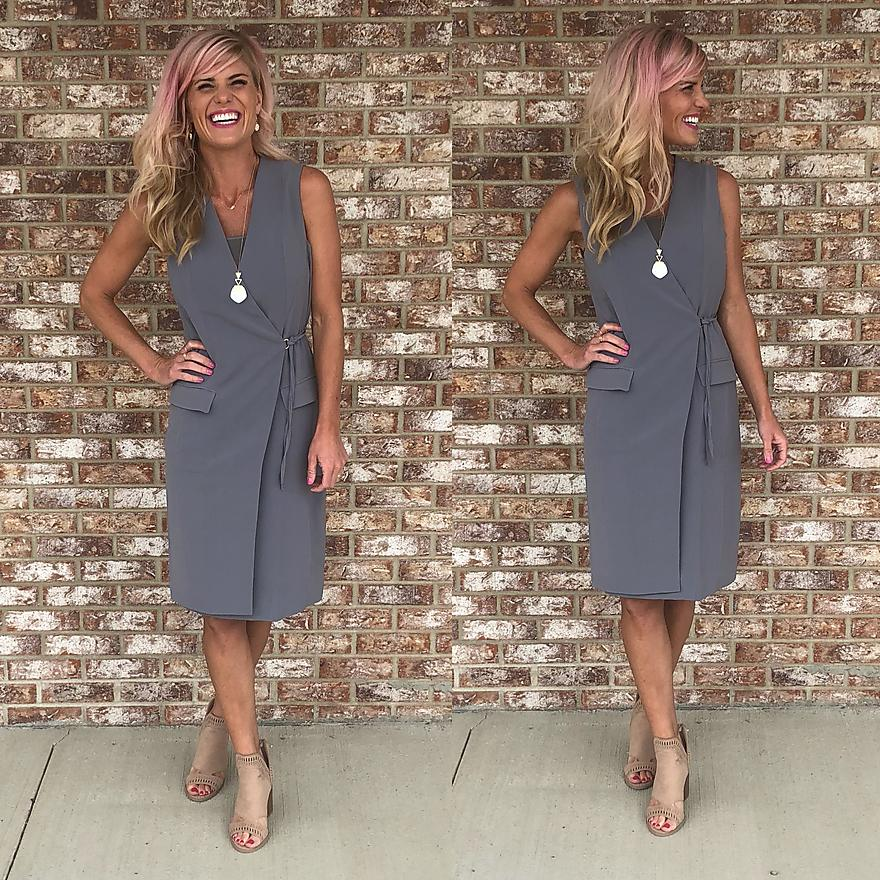 Gray faux pocket dress