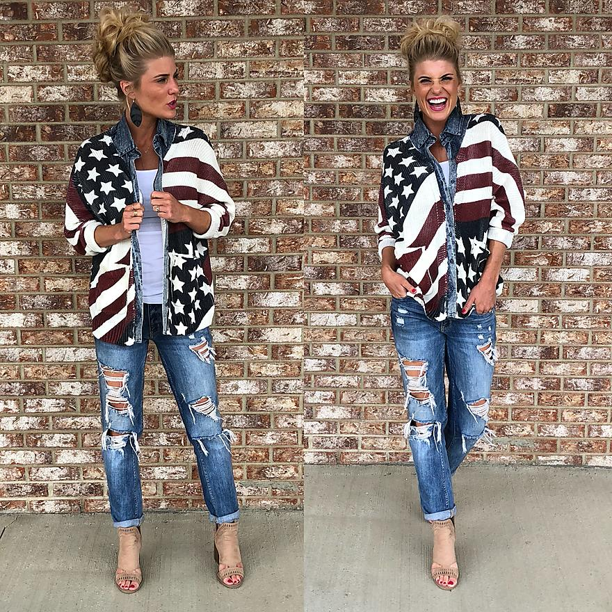 Flag Jean Button up