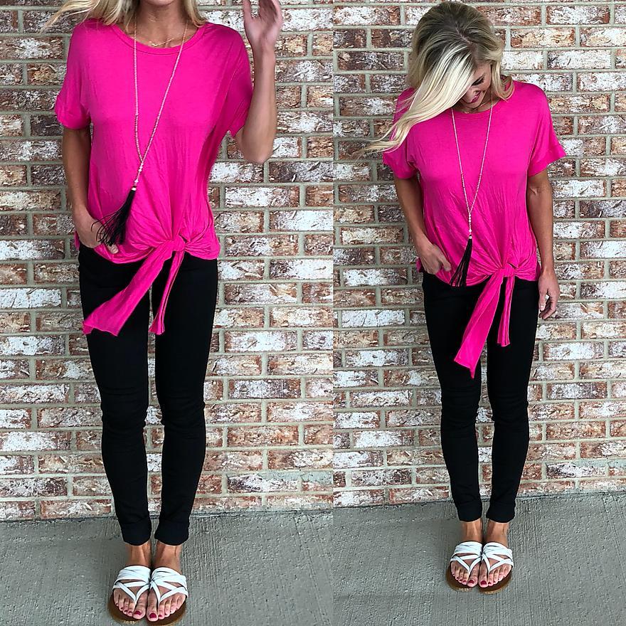 Hot pink tie top