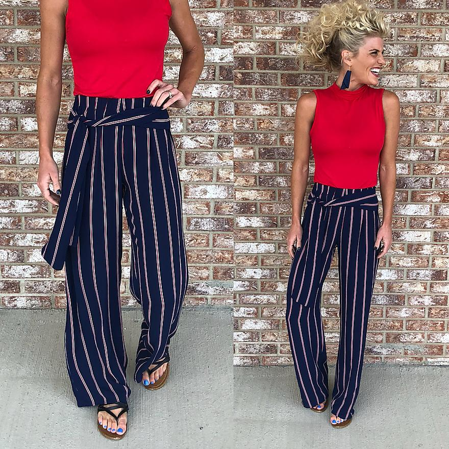 Navy and red striped pants