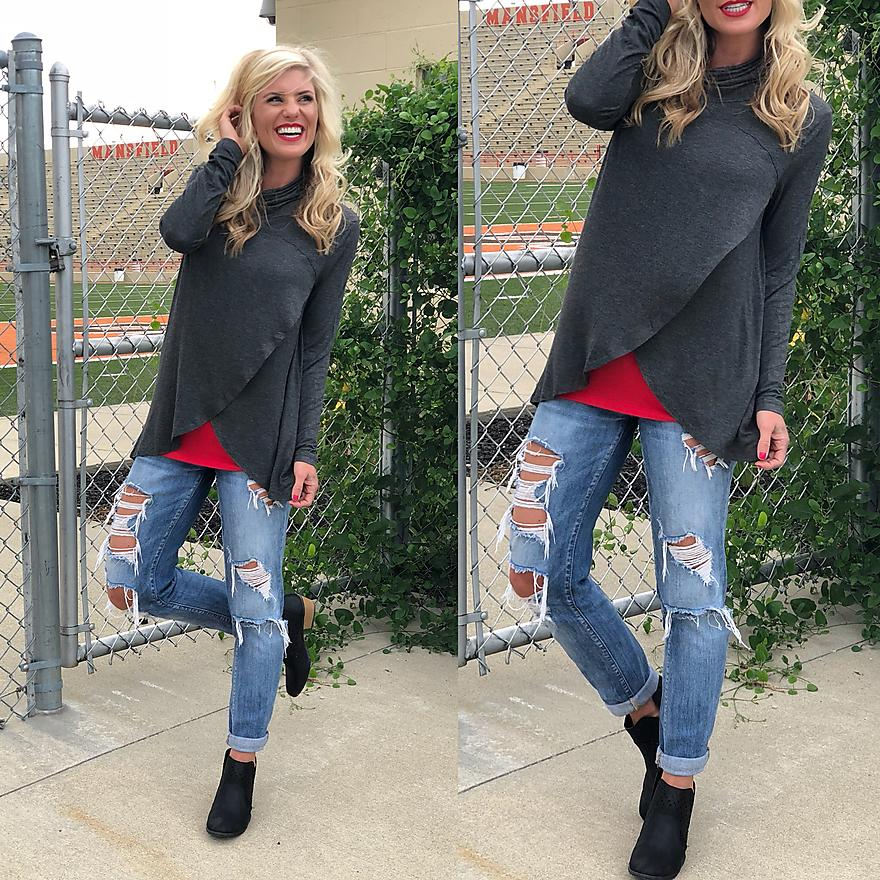 Game Day! V-cut high neck sweater