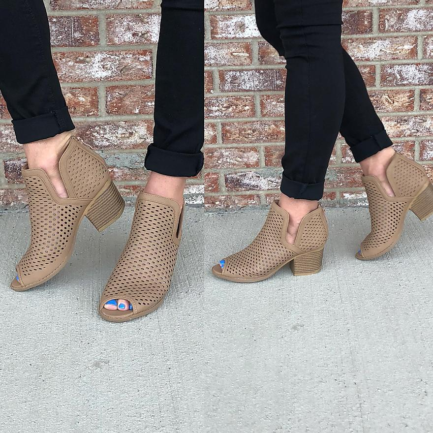 Cut out detailed open toe wedge booties