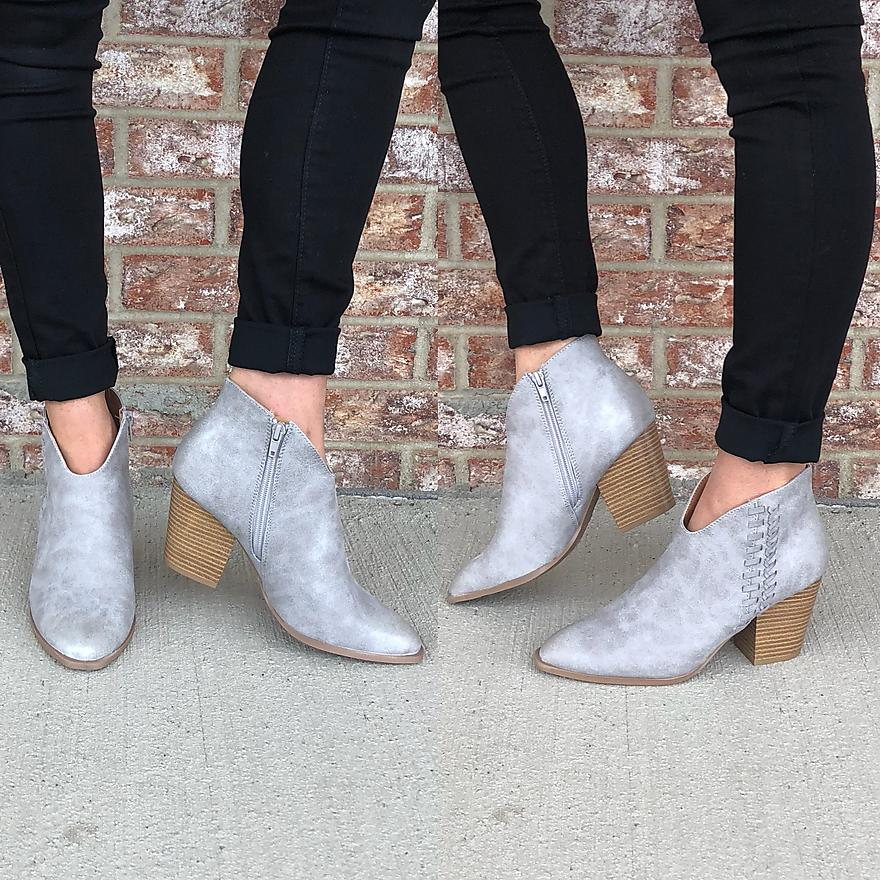 Washed gray lace up detail bootie