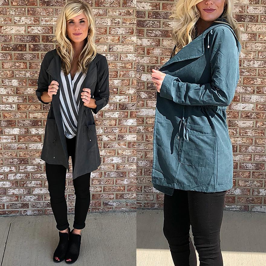 Open hooded jacket