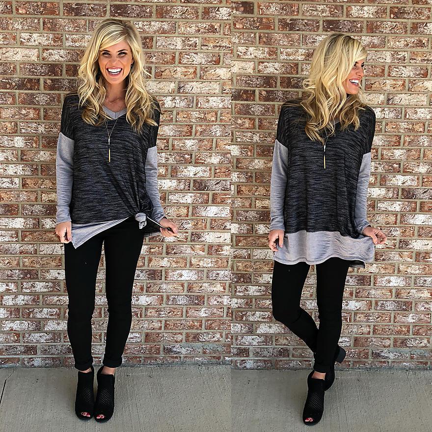 Gray on gray lightweight sweater