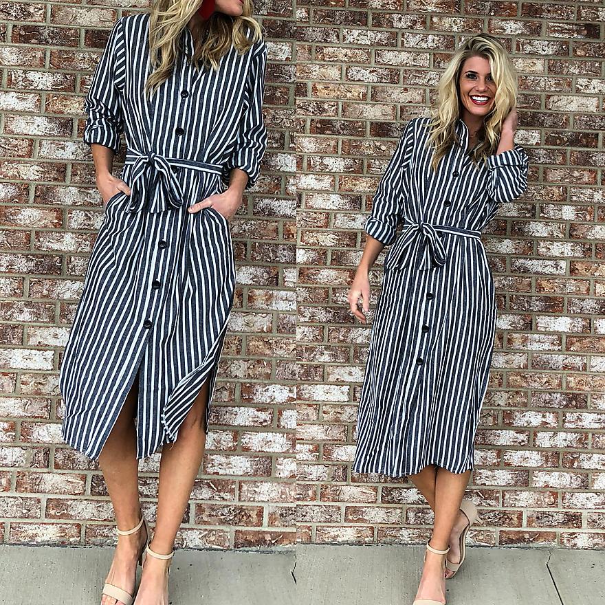 Striped Button-up T-Length Dress