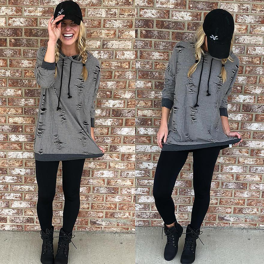 Distressed Hooded Sweatshirt