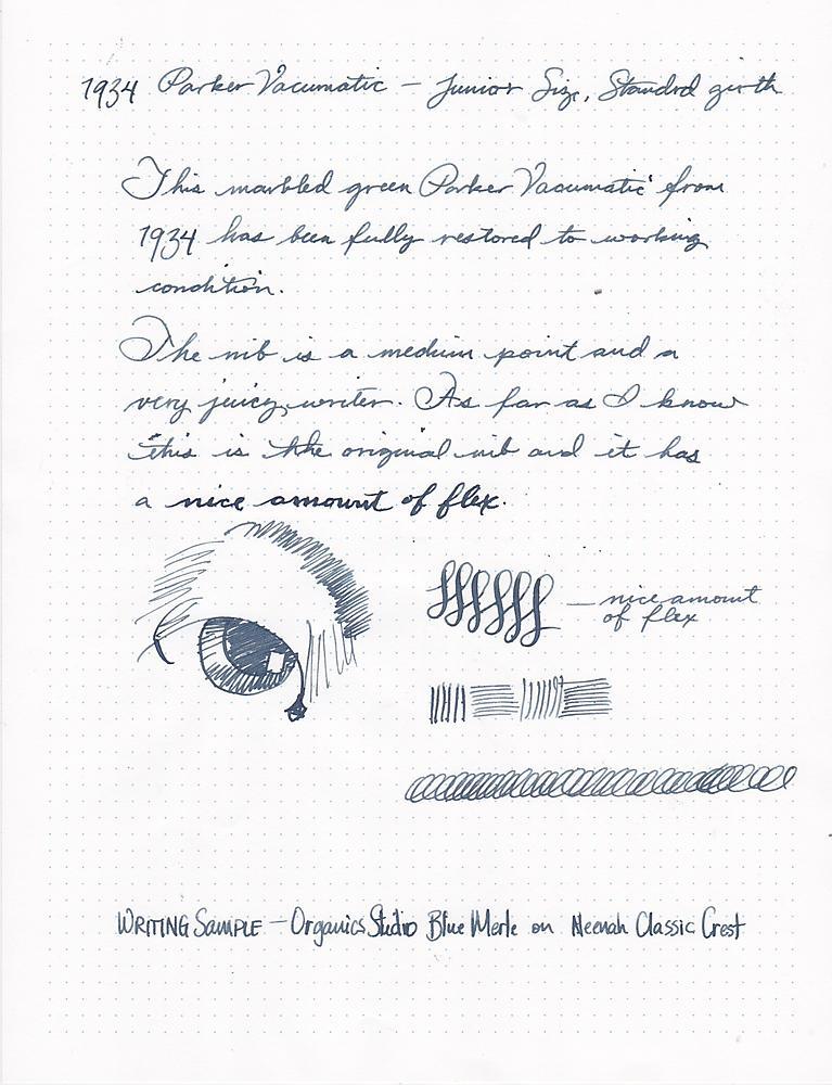 Parker Vacumatic Junior Writing Sample