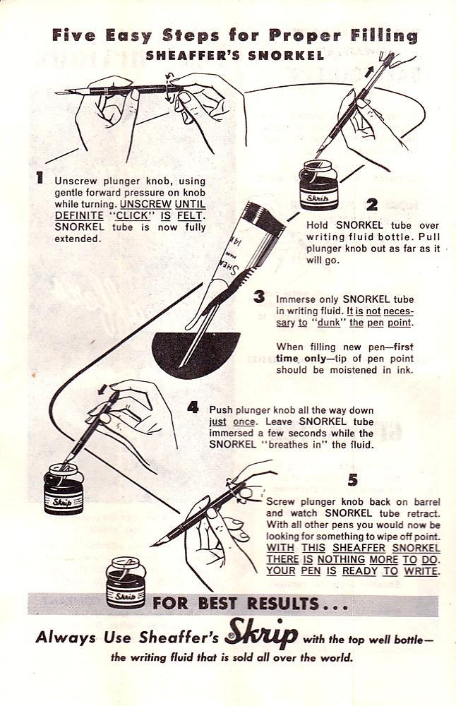 Sheaffer Snorkel Instructions